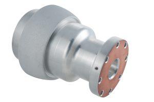 Material: Aluminium | Abmaße: Länge 205mm, Ø 158mm | Besonderheit: lokal gestrahlt | Oberfläche: spritzverkupfert