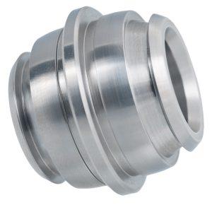 Material: Edelstahl | Abmaße: Länge 30mm, Ø 35mm | Besonderheit: radiale Einstiche unter einem Winkel eingebracht